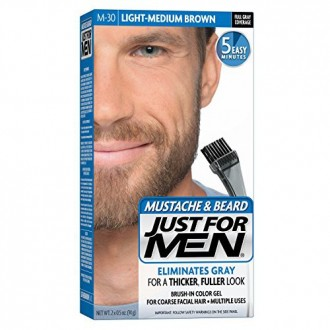 Just For Men Mustache et Beard Brush-In Gel Couleur, Lumière Medium Brown (Pack de 3)