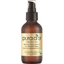 PURA D'OR marroquí aceite de argán 100% puro y orgánico del USDA para la cara, el cabello, la piel y las uñas, onza 4 Fluid