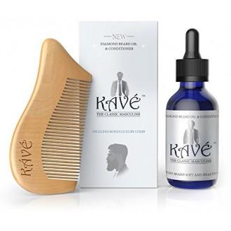 Barba aceite Hombres por Kave - Para promover el crecimiento, Suaviza la barba, detiene la comezón - 100% Natural - peine libera