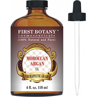 Moroccan Organic Argan Oil For Hair, Skin, Face, Nails, Cuticles & Beard 4 fl. oz. - Best Anti-Aging, Anti-Wrinkle, Triple