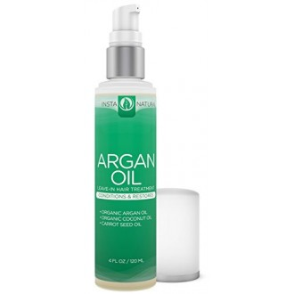 InstaNatural Argan Oil Hair Treatment - Leave-in Conditioner - For Colored, Dry & Damaged Hair - Infused with Organic Argan,