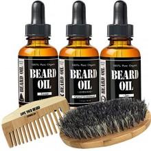 Starter Beard Kit by Leven Rose - Three Scented Beard Oils, Boar Bristle Beard Brush, Spiced Sandalwood Beard Oil, Escape