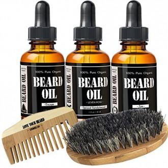 Barba de arranque Kit de Leven Rose - Tres aceites perfumados de la barba, la barba de cerdas de jabalí Brush, especiado sándalo