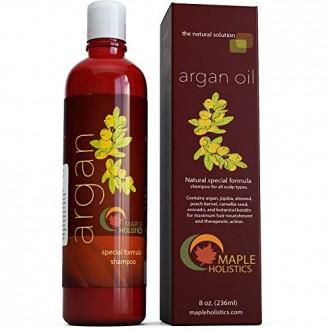 Aceite de argán Champú, libre de sulfatos, 8 oz. - Con argán, jojoba, aguacate, almendra, hueso de melocotón, semilla de camelia