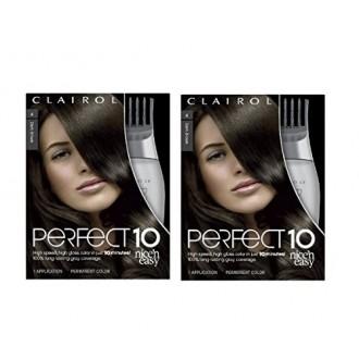 Clairol Perfect 10 Por Nice 'N Easy Color de cabello 004 Café oscuro 1 kit (paquete de 2)