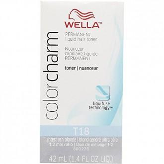 WELLA Color Charm Permanent Liquid Hair Toner T18 (Lightest AshBlonde) 1.4 fl oz
