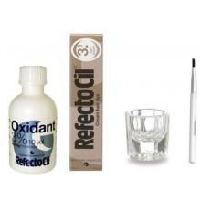 RefectoCil COLOR KIT- marrón claro tinte del pelo Crema + líquido oxidante 3% Plato + 1,7 oz de mezcla cepillo + Mezcla
