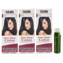 Cosamo -Love Votre Color- Ammoniac & Peroxyde cheveux gratuit Couleur 783 Noir (Lot de 3) avec un Jarosa Beauty Organic Bee
