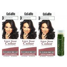 Cosamo -Love Votre Color- Ammoniac & Peroxyde Couleur des cheveux gratuit 765 Medium Brown (Pack de 3) avec un Jarosa Beauty