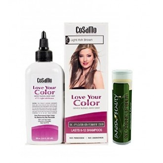 Cosamo Love Your Color, No Ammonia, No Peroxide Hair Color, 775 Light Ash Brown with Jarosa Beauty Bee Organic Peppermint