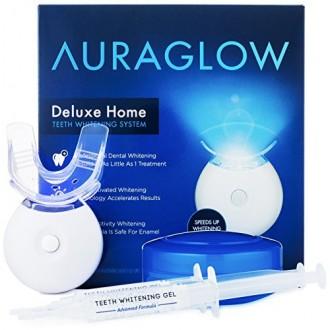 AuraGlow dientes kit de blanqueamiento, luz del LED, 35% peróxido de carbamida, (2) de 5 ml de gel Jeringas, la bandeja y Caso