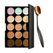 Comience 15 colores corrector de ojos kit paleta de sombra y maquillaje Cepillo de dientes Cepillo Curva