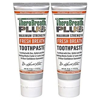 TheraBreath PLUS Fórmula Profesional Aliento Fresco Pasta de dientes - Extra Strength, de 4 onzas (paquete de 2)