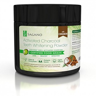 Natural Activated Charcoal Teeth Whitening Powder with Organic Cinnamon by Sagano-Effective Against Gum Disease, Bad Breath,