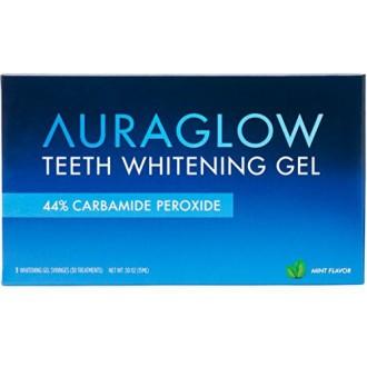 Dientes AuraGlow Gel de blanqueamiento Jeringa paquete de recambio, 44% peróxido de carbamida, (3x) Jeringas de 5 ml, 30 + Trata