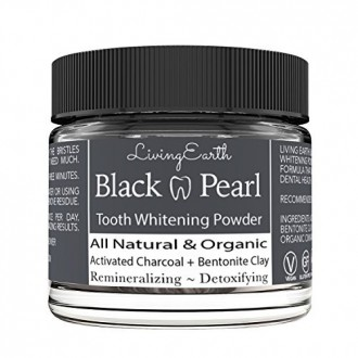 Black Pearl Activated Charcoal Tooth Powder - Organic Oral Hygiene - Teeth Whitening & Remineralizing - Anti-Bacterial -