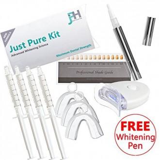 Just Pure Hut Teeth Kit de blanchiment - Comprend Whitener Pen - 4 x Gel Refill - 3 x Bleach Plateaux et Lumière