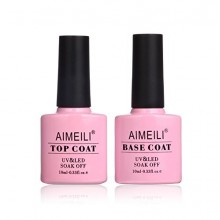 AIMEILI Soak Off Gel UV LED Nail Polish - Base et No Wipe Kit Top Coat Set 10ml