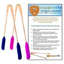 100% Limpiador de cobre lengua raspador 2-Pack antibacteriano para higiene bucal óptima / His & Hers / Home & Travel