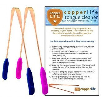 100% Copper Tongue Cleaner Scraper 2-Pack Antibacterial for Optimal Oral Hygiene / His & Hers / Home & Travel