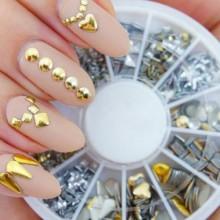 Profesional clavo de la alta calidad de manicura 3D rueda de las decoraciones del arte con oro y plata Postes del metal en 12 di