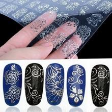 108pcs de plata de la flor 3D para las uñas Pegatinas Calcomanías estampa las herramientas de la decoración de DIY