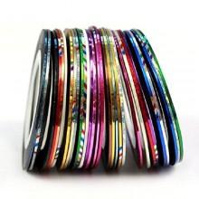 Sannysis 30 Rolls del color trazado de calidad de la cinta de uñas de arte engomada de la decoración