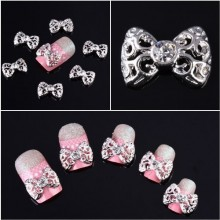 350buy 10x Silver 3D Carve Alloy Rhinestones Bow Tie Nail Art DIY Decorations