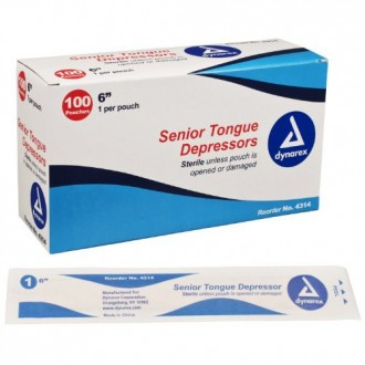 Dynarex Tongue Depressor Senior, Sterile, 6 Inches, 100 Count