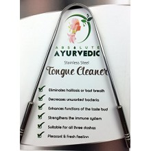 Absolute AyurvedicTM 100% Surgical Grade S.S. Tongue Cleaner Scraper With S.S. Handle Used And Recommended By Professional.