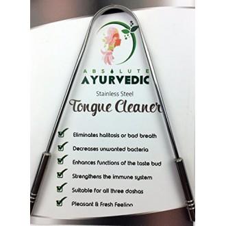 Absoluta AyurvedicTM 100% de grado quirúrgico SS limpiador lingual Rascador con SS manejador usado y recomendado por profesional