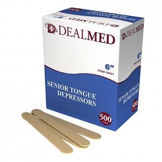 Dealmed Senior Tongue Depressors, Non-sterile, 6 Inches 500 Count