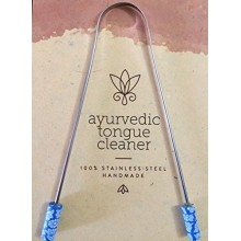 Ayurvedic Tongue Cleaner (Ocean Blue) by Sattvic Path - Premium Tongue Scraper 100% Stainless Steel - Kills Bad Breath with
