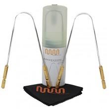 MasterMedi lengua limpiador lingual raspador de lengua y mango de metal quirúrgico acero inoxidable del grado cepillo dental kit