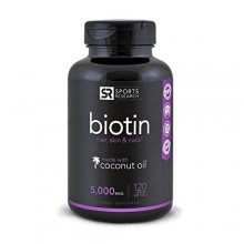 Biotin (High Potency) 5000mcg Per Veggie Softgel- Enhanced with Coconut Oil for better absorption- Supports Hair Growth,