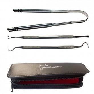 PrimeDentalPro Tongue Scraper and Dental Tools Kit Stainless Steel Set Includes Tartar Scraper, Dental Pick, Tongue Cleaner