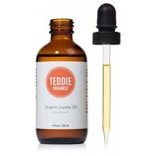 Teddie Organics de Jojoba Aceite 100% puro frío Orgánica prensado y 4 oz sin refinar - Aceite Natural Hidratante para el pelo de