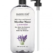 Majestic Pure Makeup Remover for Eye and Face, Skin Cleanser, Lavender Micellar Water, 8 Fluid Ounce