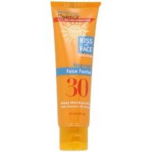 Kiss My Face Face factor natural de protección solar SPF 30 Bloqueador solar para la cara y el cuello, de 2 onzas