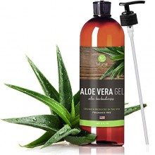 Aloe Vera Gel Organic for Face, Hair, Skin - 12 Oz - Certified Pure