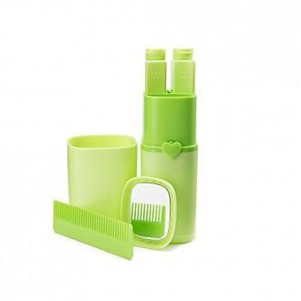 Suministros Eslite Viajes portátil de visita práctica del viaje Lave cepillo de dientes de la caja plástica (verde)