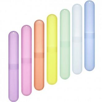 BCP Pack de 7 diverso color del cepillo de dientes de plástico Caso / soporte para el uso de viaje