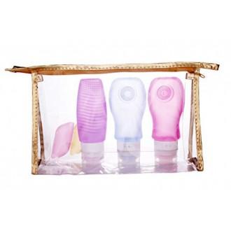 Pack de 3 viajes de recarga de la botella con el cepillo de limpieza paquete de 3 con 3 cubiertas cepillo de dientes (púrpura +