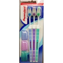 Pepsodent completa Cuidado, Cepillo de dientes (suave) con cubierta de cepillo de dientes, 3 pack