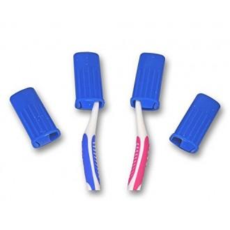 Dental Esthétique UK Cover Toothbrush Pour Head / Voyage Toothbrush Case, en plastique bleu Push-On Covers X 1, 4 ou 6 (6 Lettre