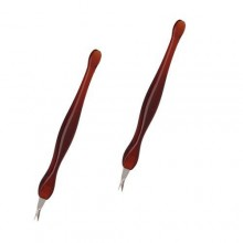 2 Pack Practical Nail Art Tools Pedicure Cuticle Trimmer Dead Skin Callus Removal Fork Brown