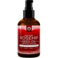 InstaNatural Organic Rosehip Seed Oil - 100% Pure & Unrefined Virgin Oil - Natural Moisturizer for Face, Skin, Hair, Stretch