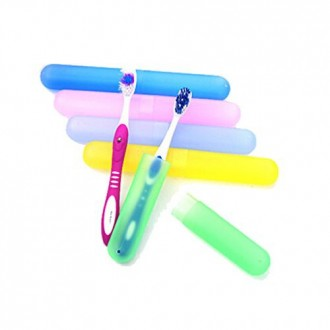 Amgate Plastic Toothbrush Case for Travel Use, Pack of 10 PCS Different Color Toothbrush Holder (Not with Toothbrush)