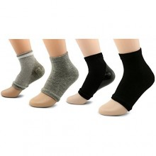 Peau AYAOQIANG Hydratant Gel ouvert Toe Heel Socks, Spa Socks pour Hard Dry Cracked -2 ​​Paire (noir et gris)