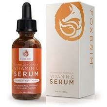 Foxbrim vitamina C Suero de belleza 1 oz. - BEST Serum Anti-Envejecimiento - Vegan Ácido Hialurónico y Amino Complex - premium F